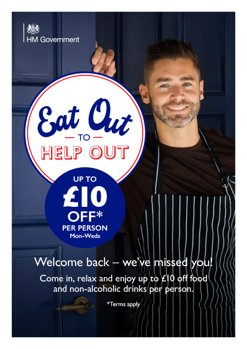 A sample poster from the UK Government's Eat Out to Help out campaign